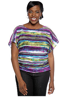 Ruby Rd Plus Size Tropical Paradise Rain Forest Striped Blouse