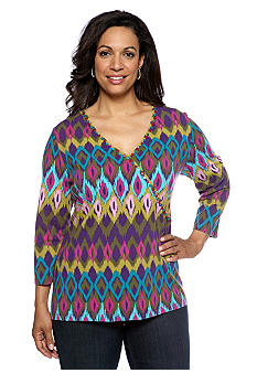 Ruby Rd Plus Size Tropical Paradise Mock Surplice Printed Top