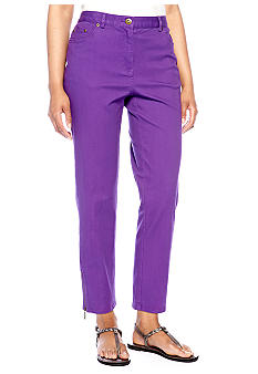 Ruby Rd Petite Tropical Paradise Jean Zipper Ankle Pant
