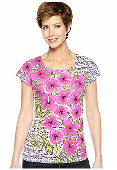 Ruby Rd Petite Tropical Paradise Scoop Neck Floral Embellished Tee