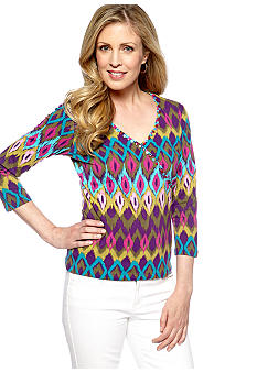 Ruby Rd Petite Tropical Paradise Faux Wrap Print Top