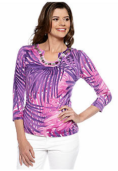 Ruby Rd Petite Tropical Paradise Jungle Top
