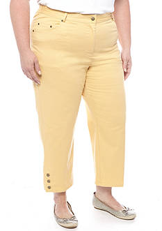 Ruby Rd Plus Size 3 Button Twill Capri