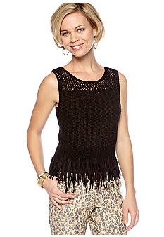 Ruby Rd Tribe Vibe Tape Yarn Tassel Top