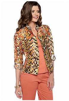 Ruby Rd Petite Tribe Vibe Burnout Shirt