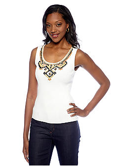 Ruby Rd Petite Tribe Vibe Embellished Tank Top