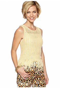 Ruby Rd Petite Tribe Vibe Tape Yarn Tassel Top