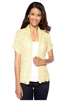 Ruby Rd Petite Tribe Vibe Open Pointelle Cardigan