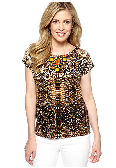 Ruby Rd Petite Tribe Vibe Embellished Ikat Top