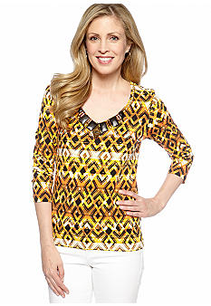 Ruby Rd Petite Tribe Vibe Embellished Ethnic V-Neck Top
