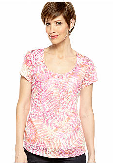 Ruby Rd Petite Favorite Printed Knit Burnout Top
