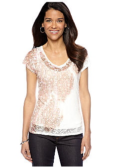 Ruby Rd Petite Must Have V-Neck Burnout Tee with Tank
