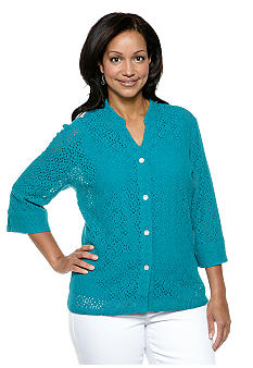 Ruby Rd Plus Size Must Have Lace Button Up Shirt
