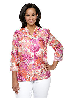 Ruby Rd Plus Size Must Haves Printed Burnout Blouse