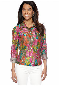 Ruby Rd Petite Favorite Garden Floral Burnout Shirt