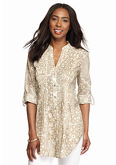 Ruby Rd Keep It Neutral Pleated Front Gauze Top