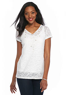 Ruby Rd Keep It Neutral Embellished Burnout Top