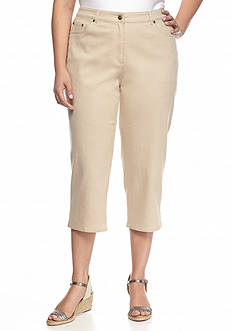 Ruby Rd Plus Size Keep It Neutral Denim Capris