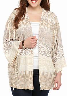 Ruby Rd Plus Size Keep It Neutral Printed Kimono