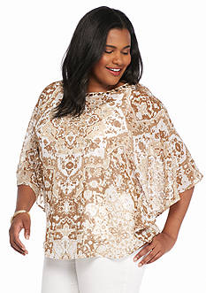 Ruby Rd Plus Size Keeping It Neutral Printed Blouse