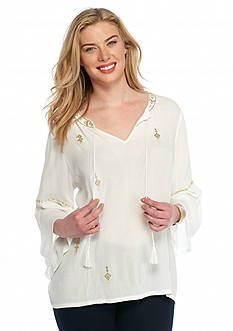 Ruby Rd Plus Size Keep It Neutral Embellished Peasant Top