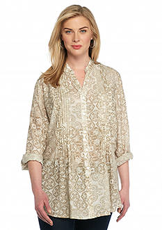 Ruby Rd Plus Size Keep It Neutral Printed Gauze Top