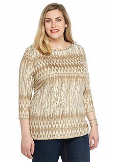 Ruby Rd Plus Size Keep it Neutral Embellished Printed Knit Top