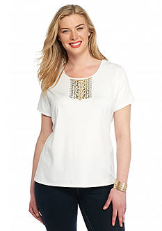 Ruby Rd Plus Size Keep It Neutral Solid Knit Top