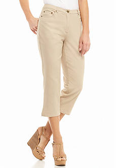 Ruby Rd Petite Keep It Neutral Embellished Pocket Denim Capris
