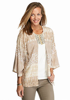 Ruby Rd Petite Keep It Neutral Printed Fringe Kimono