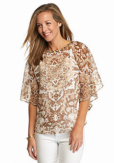 Ruby Rd Petite Keep It Neutral Embellished Printed Top