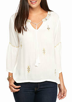 Ruby Rd Petite Keep It Neutral Embellished Shirt