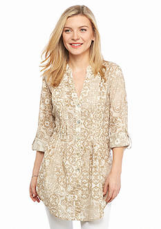 Ruby Rd Petite Keep It Neutral Printed Gauze Top