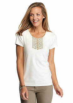 Ruby Rd Petite Keep It Neutral Embellished Solid Knit Top