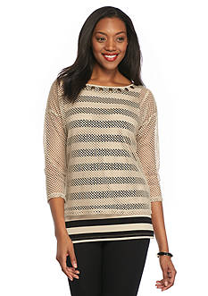 Ruby Rd Embellished Mesh Overlay Top