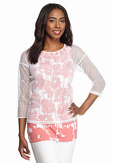 Ruby Rd To A Tee Embellished Mesh Overlay Floral Tank