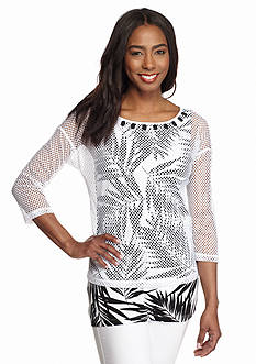 Ruby Rd To A Tee Embellished Mesh Overlay Palm Tank