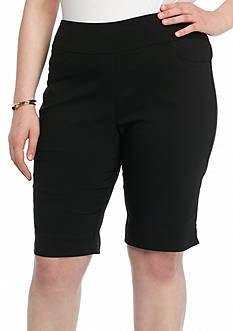 Ruby Rd Plus Size To A Tee Solid Millennium Tech Shorts