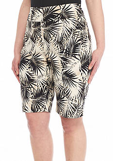 Ruby Rd Plus Size To A Tee Palm Print Millennium Tech Shorts