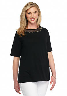 Ruby Rd Plus Size To A Tee Embellished Mesh Trim Neck Top