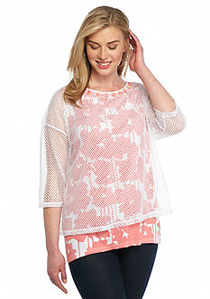 Ruby Rd Plus Size To A Tee Mesh Overlay Top