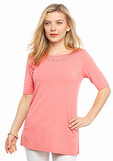 Ruby Rd Petite To A Tee Embellished Mesh Trim Knit Top
