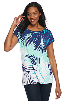 Ruby Rd Jungle Gym Palm Printed Knit Top