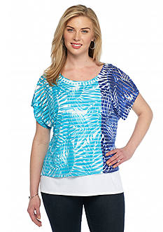 Ruby Rd Plus Size Jungle Gym Sheer Striped Top