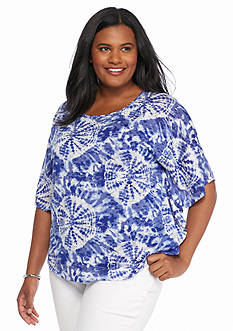 Ruby Rd Plus Size Jungle Gym Embellished Tie Dye Knit Top