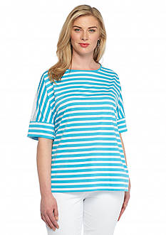Ruby Rd Plus Size Jungle Gym Striped French Terry Top
