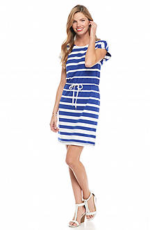 Ruby Rd Petite Jungle Gym Striped Knit Dress