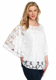 Ruby Rd Plus Size Keeping It Cool Floral Lace Top