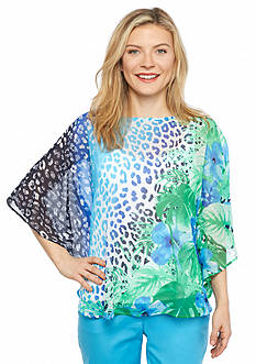 Ruby Rd Petite Keeping It Cool Tropical Print Top