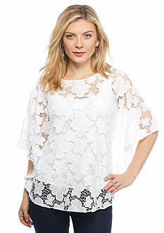 Ruby Rd Petite Keeping It Cool Floral Lace Top